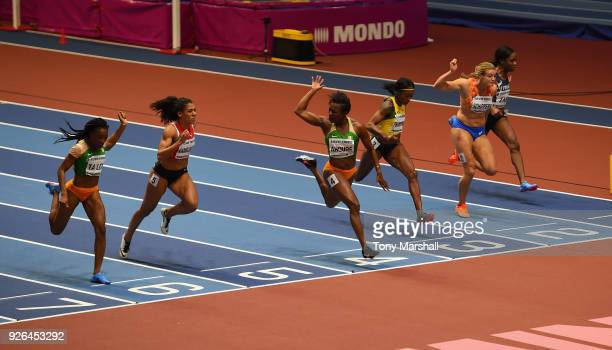Murielle Ahoure of Ivory Coast wins the Women's 60m Final during Day Two of the IAAF World Indoor Championships at Arena Birmingham on March 2, 2018...