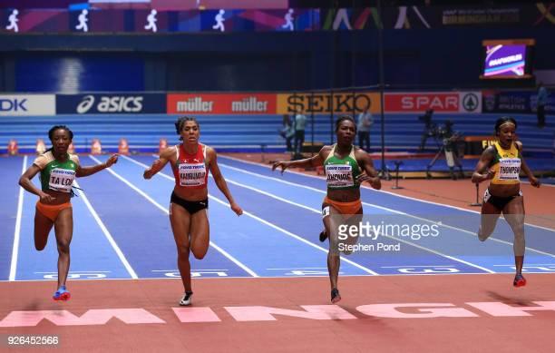 Murielle Ahoure wins the 60 Metres Womens Final ahead of MarieJosee Ta Lou of Cote D'Ivoire Mujinga Kambundji of Switzerland and Elaine Thompson of...