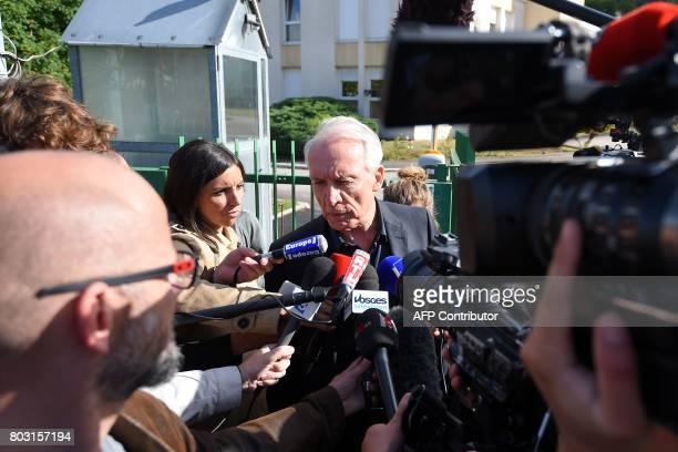 Murielle Bolle's lawyer JeanPaul Teissonniere answers journalists' questions outside the gendarmerie in SaintEtienneLesRemiremont eastern France on...