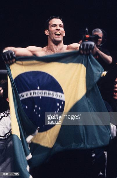 Murilo Bustamante defeats Dave Menne to win the UFC Middleweight Championship at the Mohegan Sun Arena on January 11, 2002 in Uncasville, Connecticut.