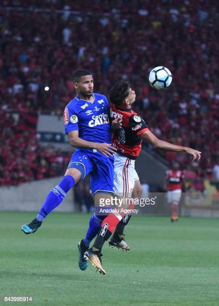 Murilo Cerqueira of Cruzeiro in action against Lucas Romero of Flamengo during the first match of the Brazilian Cup Final between Flamengo and...