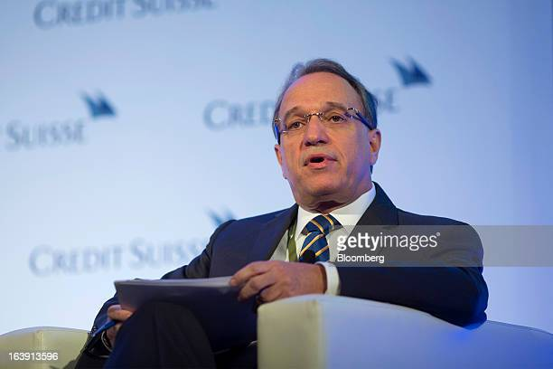 Murilo Ferreira president and chief executive officer of Vale SA speaks during the Credit Suisse Asian Investment Conference in Hong Kong China on...