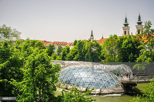 murinsel in graz, austria - graz stock photos and pictures