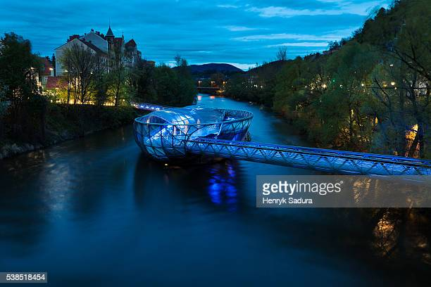 murinsel on mur river in graz - graz stock photos and pictures