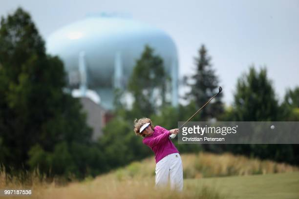 Murle Breer plays her second shot on the eighth hole during the first round of the US Senior Women's Open at Chicago Golf Club on July 12 2018 in...