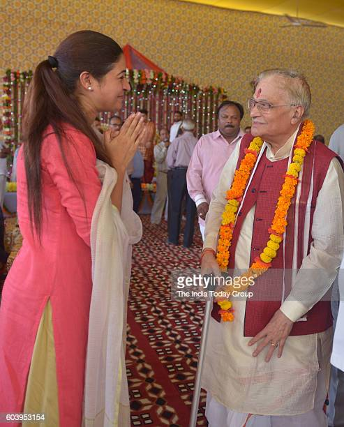 Murli Manohar Joshi and AAP MLA Alka Lamba during Bhumi Pujan of Dharmik Leela Commettee at Red Fort Lawn in New Delhi