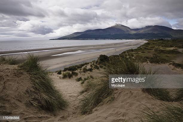 Murlough Dunes Dundrum Bay view to the Mourne Mountains and Newcastle County Down Northern Ireland United Kingdom