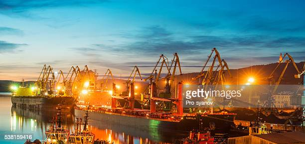 Murmansk sea trading port at evening.