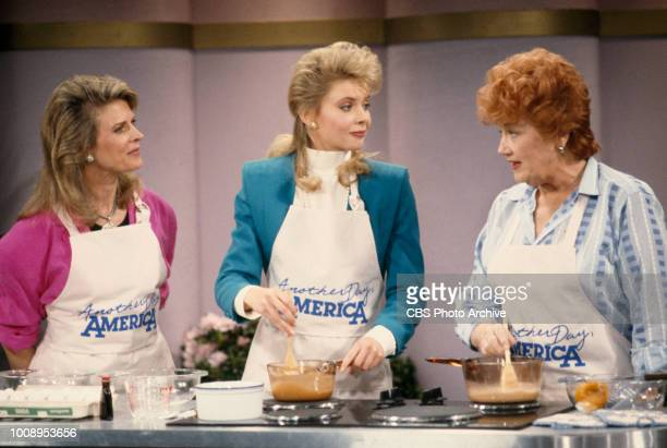 Murphy Brown a CBS television situation comedy program featuring topical current events and satire Pictured from left is Candice Bergen Faith Ford...