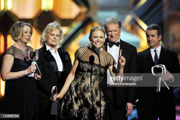 'Murphy Brown' creator/executive producer Diane English actors Candice Bergen Faith Ford Charles Kimbrough and Grant Shaud speak onstage at the 10th...