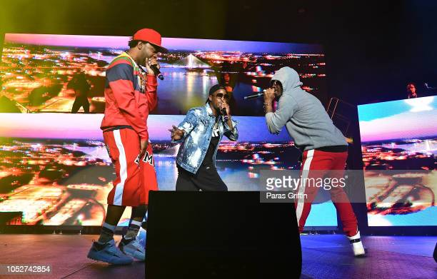 Murphy Lee Jermaine Dupri and JKwon perform in concert during So So Def 25th Cultural Curren$y Tour at State Farm Arena on October 21 2018 in Atlanta...