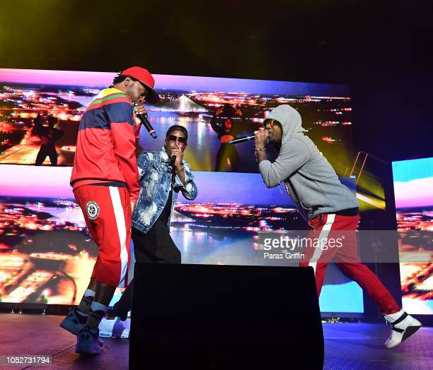 Murphy Lee JKwon and Jermaine Dupri perform in concert during So So Def 25th Cultural Curren$y Tour at State Farm Arena on October 21 2018 in Atlanta...