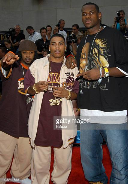Murphy Lee Nelly and LeBron James during 2003 MTV Video Music Awards Red Carpet at Radio City Music Hall in New York City New York United States