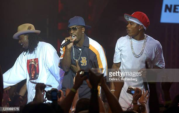 Murphy Lee Sean P Diddy Combs and Nelly during Nelly Performs On AOL Broadband Live Concert at Webster Hall in New York City New York United States