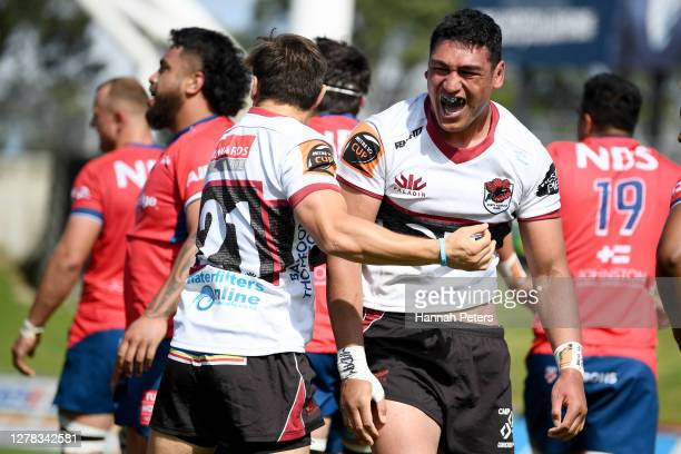Murphy Taramai of North Harbour celebrates after Luteru Tolai of North Harbour scored a try during the round 4 Mitre 10 Cup match between North...