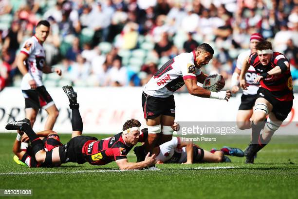 Murphy Taramai of North Harbour charges forward during the round six Mitre 10 Cup match between North Harbour and Canterbury at QBE Stadium on...