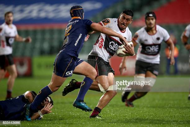 Murphy Taramai of North Harbour is tackled during the round one Mitre 10 Cup match between North Harbour and Otago at QBE Stadium on August 17, 2017...