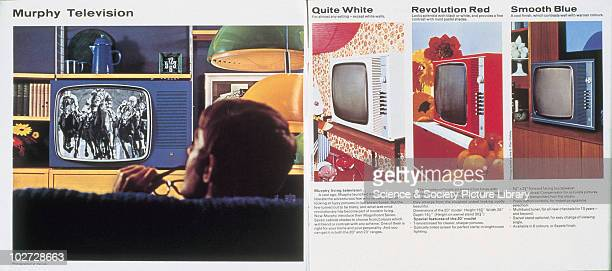 Murphy television sets with new colour cabinet designs 1960s This brochure showing telephones in Harrods London was designed to promote Murphy's...