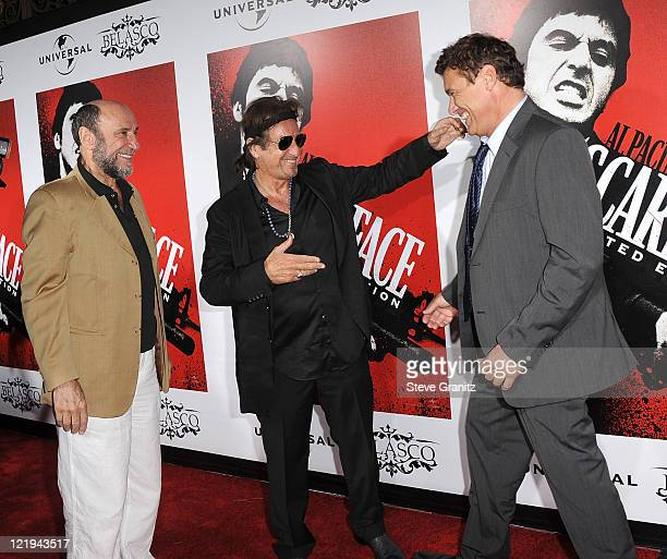 F Murray Abraham and Al Pacino and Steven Bauer attends the Scarface BluRay DVD Release Party at Belasco Theatre on August 23 2011 in Los Angeles...
