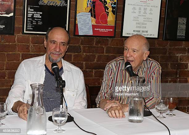 """Murray Abraham and Terrence McNally attend the """"It's Only A Play"""" Cast Photocall at Joe Allen Restaurant on August 19, 2014 in New York City."""