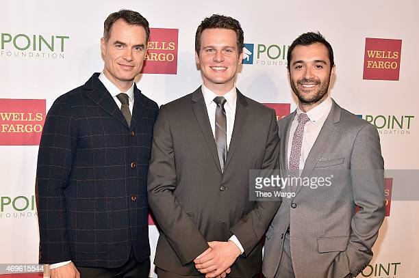 Murray Bartlett Jonathan Groff and Frankie J Alvarez attend the 2015 Point Honors Gala at New York Public Library on April 13 2015 in New York City