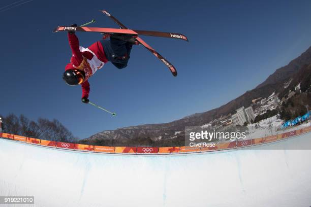 Murray Buchan of Great Britain in action during Freestyle Skiing Ski Halfpipe training on day eight of the PyeongChang 2018 Winter Olympic Games at...