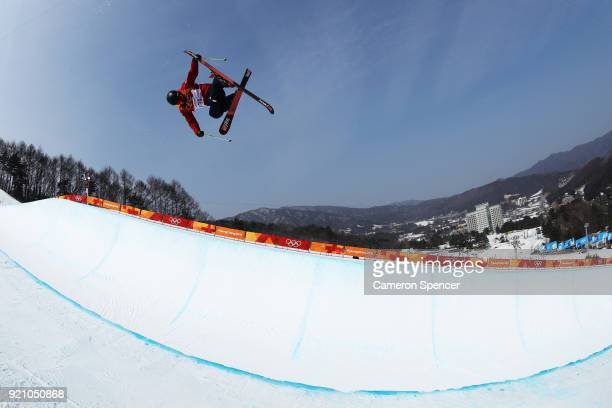 Murray Buchan of Great Britain trains during the Freestyle Skiing Men's Ski Halfpipe Qualification on day eleven of the PyeongChang 2018 Winter...