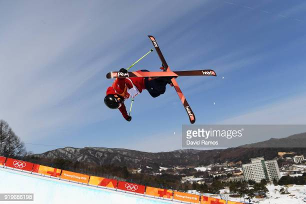 Murray Bunchan of Great Britain during the Freestyle Skiing Men's Halfpipe training on day nine of the PyeongChang 2018 Winter Olympic Games at...