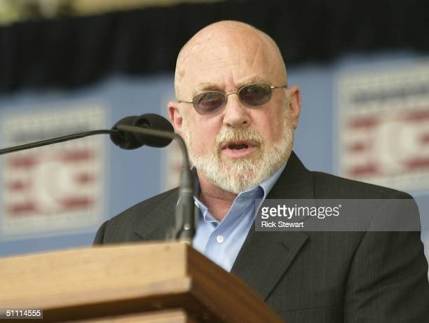 Murray Chass speaks after receiving the JG Taylor Spink award during the National Baseball Hall of Fame Induction Ceremonies on July 25, 2004 at the...