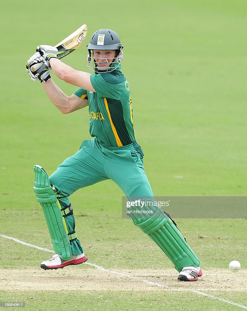 Murray Coetzee of South Africa bats during the ICC U19 Cricket World Cup 2012 Semi Final match between Australia and South Africa at Tony Ireland Stadium on August 21, 2012 in Townsville, Australia.
