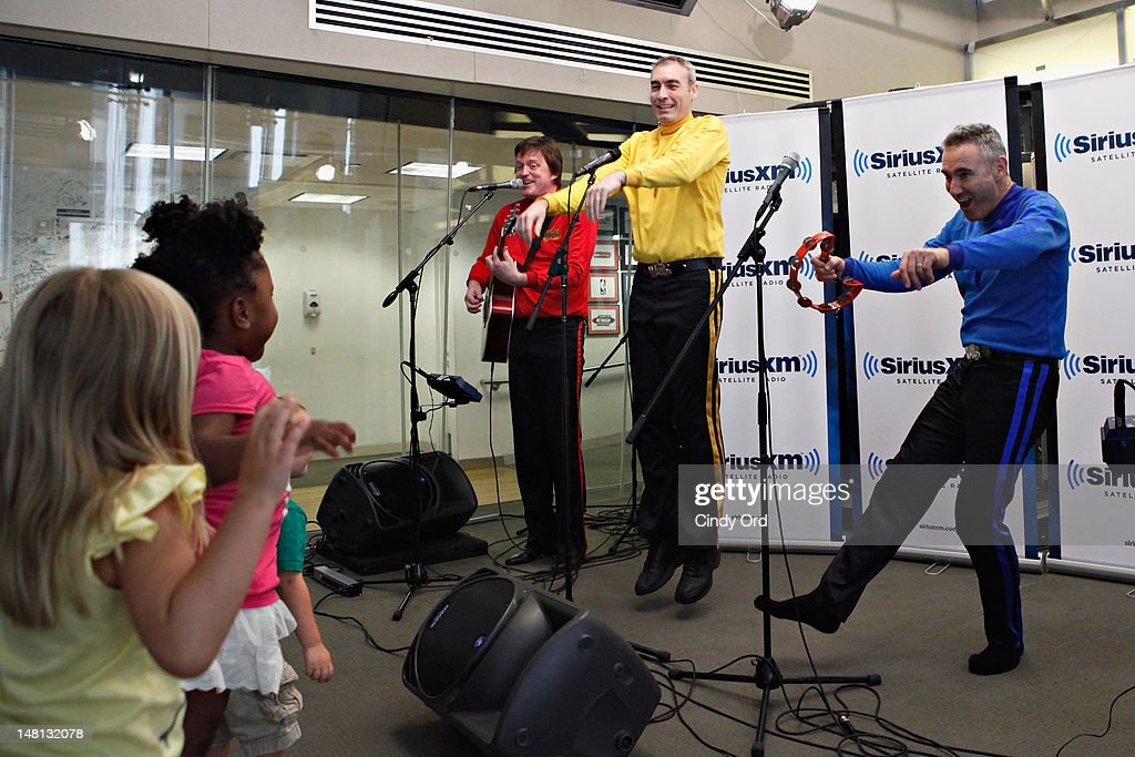 Murray Cook, Greg Page, and Anthony Field of The Wiggles perform at the SiriusXM Studio on July 10, 2012 in New York City.