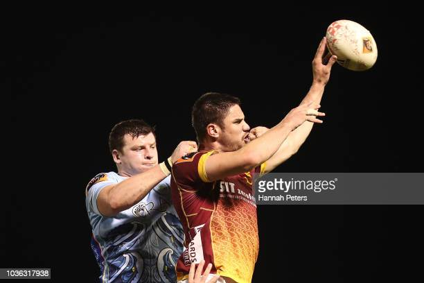 Murray Douglas of Northland competes for the ball with Manaaki SelbyRickit of Southland during the round six Mitre 10 Cup match between Northland and...