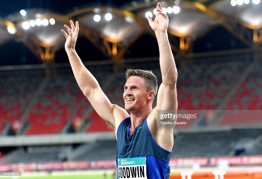 Murray Goodwin celebrates after winning the final of the Men's 400m event during the Australian Athletics Championships & Nomination Trials at Carrara Stadium on February 17, 2018 in Gold Coast, Australia.
