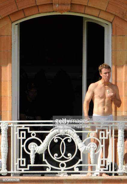 Murray Goodwin of Sussex eats a banana on the dressing room balcony before the Friends Provident Trophy Final between Hampshire and Sussex at Lord's...