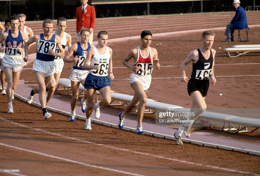 Murray Halberg of New Zealand (right) leads Mohammed Gammoudi of Tunisia and the rest of the pack during heat 3 of the men's 5000 metres event during the Summer Olympic Games in Tokyo, circa October 1964.