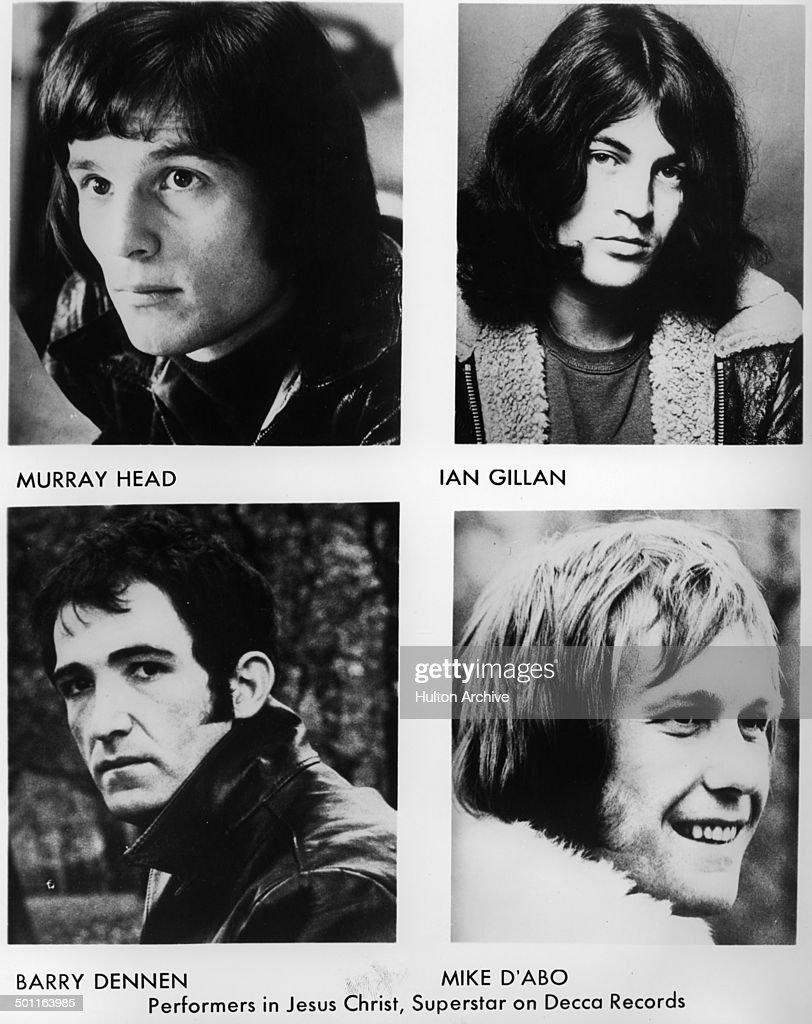 Murray Head as Judas. Ian Gillan as Jesus (Bottom L-R) Barry Dennen as the Pilate. Michael d'Abo as King Herod for the Andrew Lloyd Webber recording of 'Jesus Christ Superstar' circa 1970.