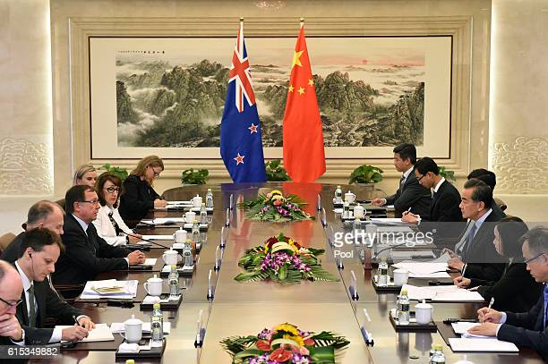 Murray McCully Foreign Minister of New Zealand attends the meeting with Wang Yi Foreign Minister of China on October 18 2016 in Beijing China
