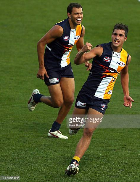 Murray Newman of the Eagles celebrates a goal during the round 14 AFL match between the West Coast Eagles and the Gold Coast Suns at Patersons...