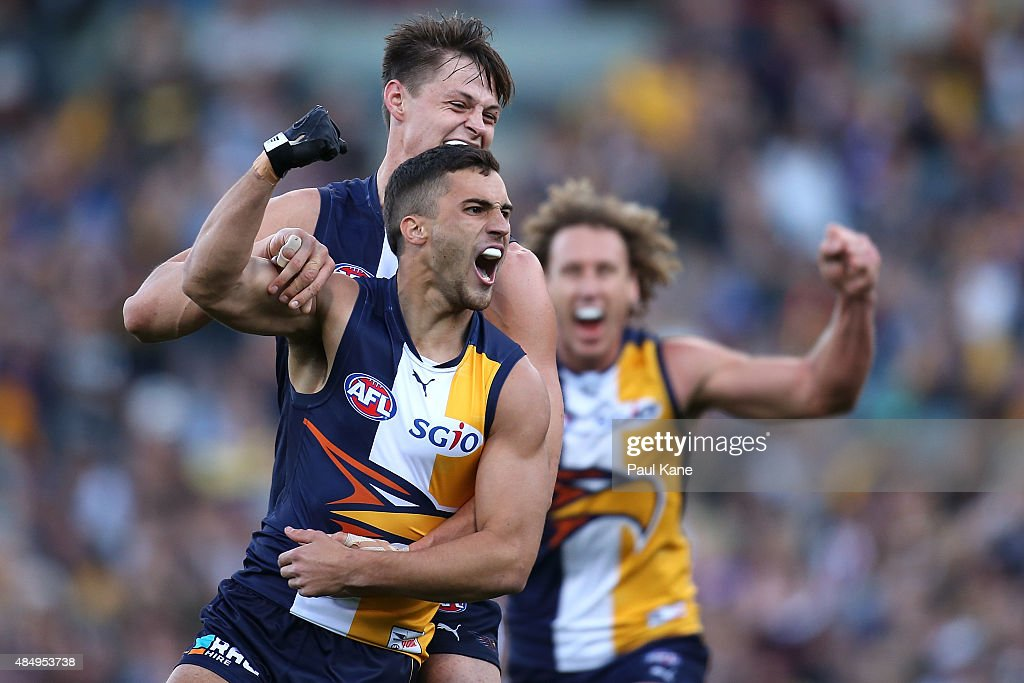 Murray Newman of the Eagles celebrates a goal during the round 21 AFL match between the West Coast Eagles and Western Bulldogs at Domain Stadium on August 23, 2015 in Perth, Australia.