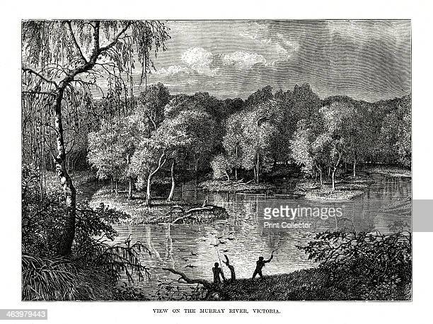 Murray River Victoria Australia 1877 Aboriginal men on the bank of the river