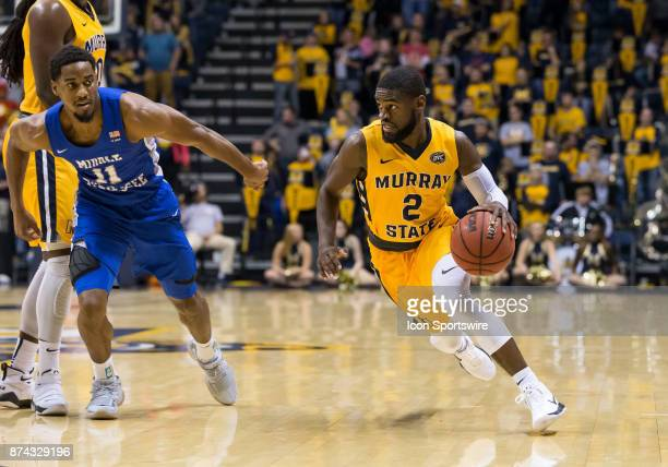 Murray State guard Jonathan Stark drives from the perimeter during the college basketball game between the Murray State Racers and Middle Tennessee...