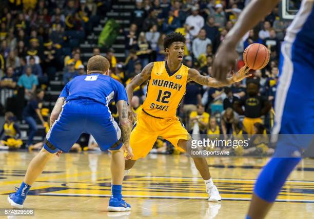 Murray State guard Temetrius Ja Morant passes the ball during the college basketball game between the Murray State Racers and Middle Tennessee Blue...