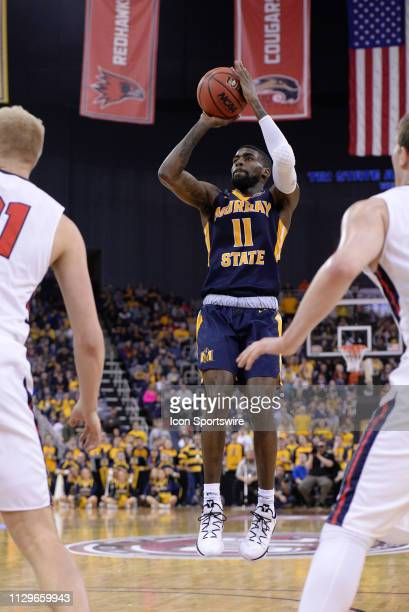 Murray State Racers Guard Shaq Buchanan shoots a jump shot during the Ohio Valley Conference Championship college basketball game between the Murray...