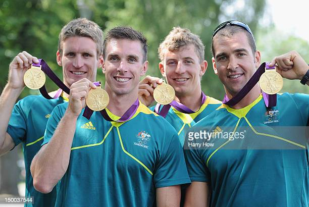 Murray Stewart Dave Smith Jacob Clear and Tate Smith of Australia hold up their Gold medals after the Men's Kayak Four 1000m Canoe Sprint at Eton...