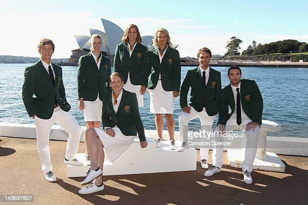 Murray Stewart Sarah Tait Lauren Jackson Libby Trickett Naomi Flood Kynan Maley and Adam Gibson pose during the official unveiling of the Australian...