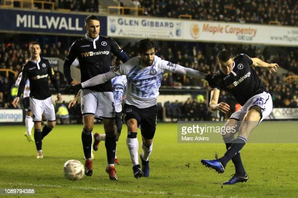 Murray Wallace of Millwall shoots in the lead up to Milwall's second goal scored by Jake Cooper of Milwall during the FA Cup Fourth Round match...