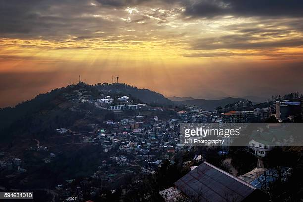 murree at sunset - islamabad stock pictures, royalty-free photos & images