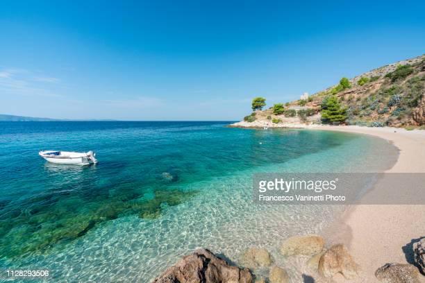 murvica beach, brac island, croatia. - mittelmeer stock-fotos und bilder