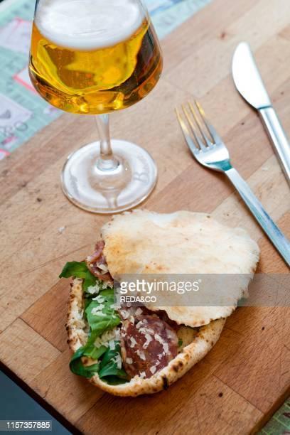 Murzillo traditional sandwich with salami of black pork from Caserta and provola cheese Enzo Coccia chef Pizzeria La Notizia Napoli Campania Italy...