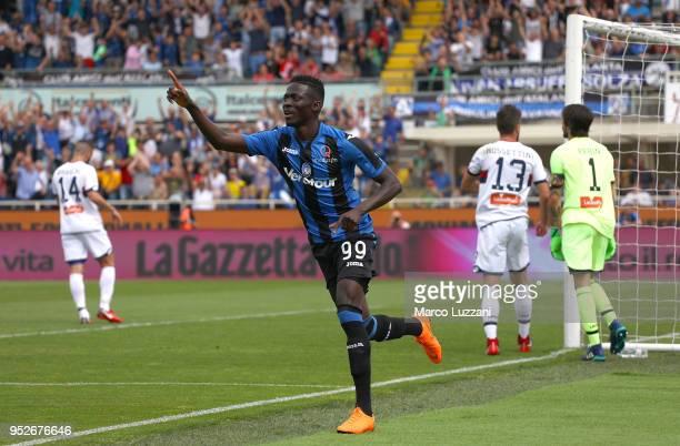 Musa Barrow of Atalanta BC celebrates after scoring the opening goal during the serie A match between Atalanta BC and Genoa CFC at Stadio Atleti...